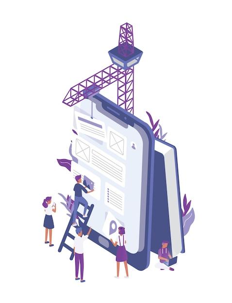 Grupa Malutkich Ludzi Tworzących Aplikację Mobilną Na Gigantycznym Tablecie Premium Wektorów