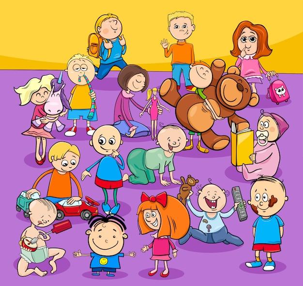 Grupa małych dzieci i postaci z kreskówek Premium Wektorów