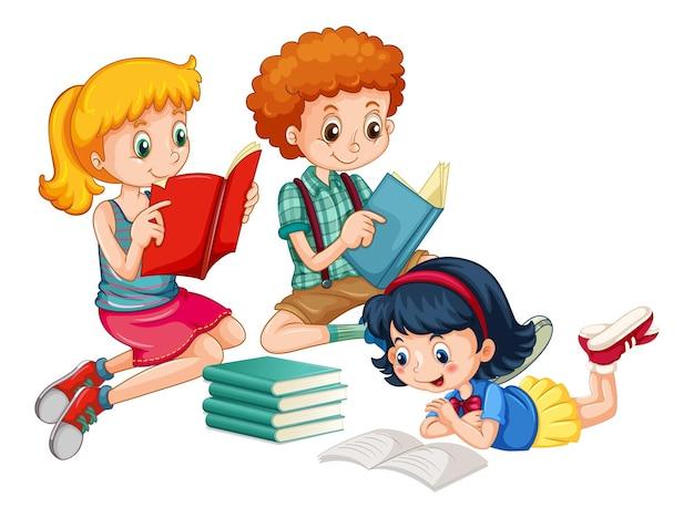 Grupa Małych Dzieci Postać Z Kreskówki Darmowych Wektorów