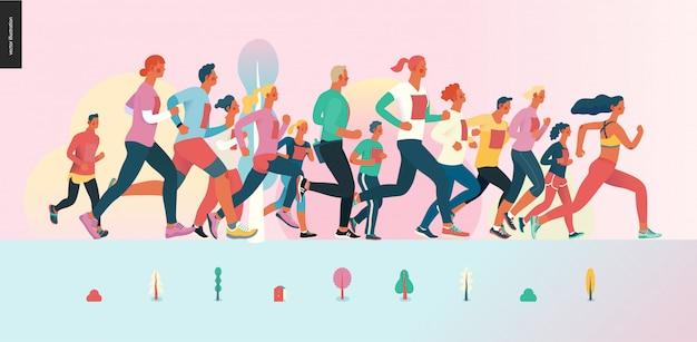 Grupa maratońska Premium Wektorów