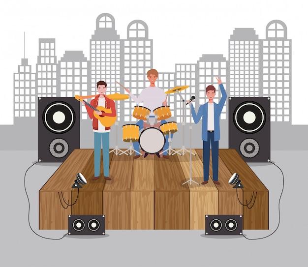 Grupa Mężczyzn Zespół Muzyczny Grający Na Instrumentach Premium Wektorów