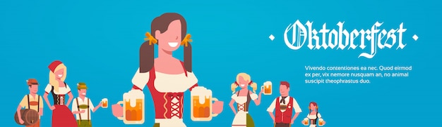 Grupa mężczyzna i kobieta jest ubranym niemieckich tradycyjnych odzieżowych kelnerów trzyma piwnych kubków oktoberfest przyjęcia pojęcie Premium Wektorów