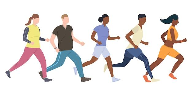 Grupa młodych biegaczy płci męskiej i żeńskiej Darmowych Wektorów