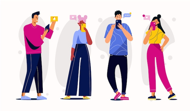 Grupa Młodych Ludzi Korzystających Ze Smartfonów Darmowych Wektorów