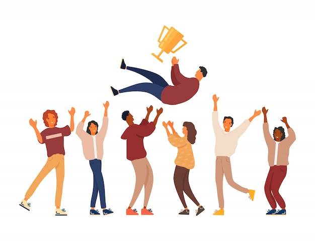 Grupa młodych ludzi świętuje zwycięstwo Premium Wektorów