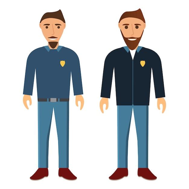 Grupa Młodych Ludzi Z Brodą I Wąsami. Mężczyźni Pracujący W Policji. Premium Wektorów