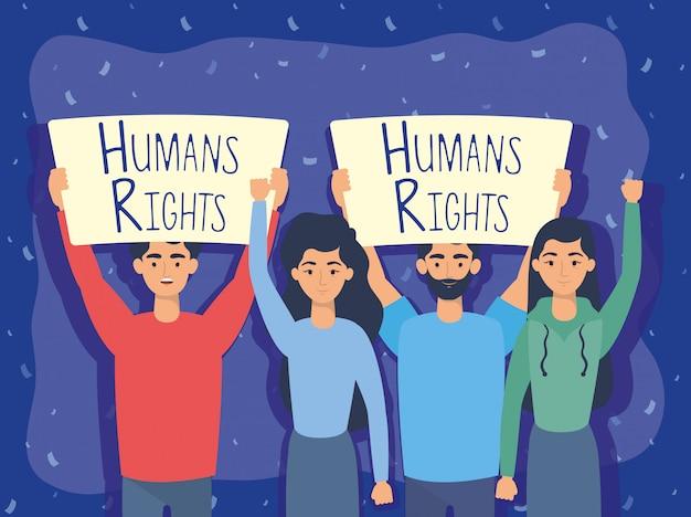 Grupa Młodych Ludzi Z Etykiety Praw Człowieka Wektor Ilustracja Projektu Darmowych Wektorów