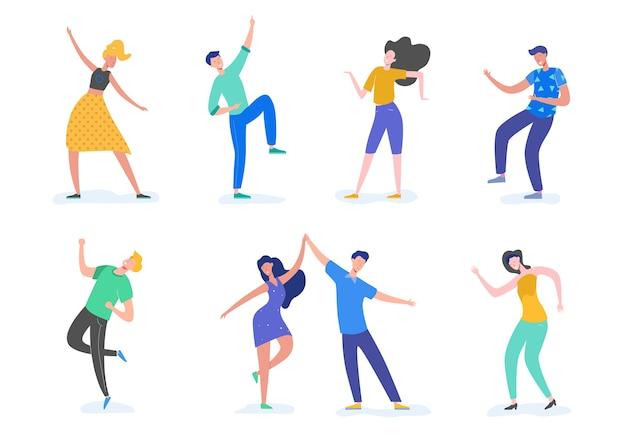 Grupa Młodych Szczęśliwych Ludzi Tańczących Lub Tancerzy Płci Męskiej I żeńskiej Na Białym Tle. Uśmiechnięci Młodzi Mężczyźni I Kobiety Korzystających Z Tańca. W Stylu Kreskówki Płaskiej Premium Wektorów