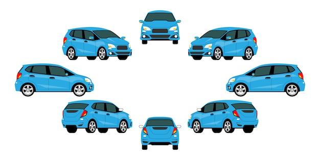 Grupa Niebieskich Samochodów Premium Wektorów