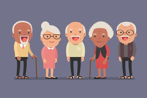 Grupa Osób Starszych Stoją Razem Na Tle. Płaski Charakter Premium Wektorów