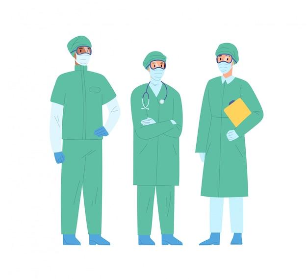 Grupa Personelu Medycznego W Ilustracji Wektorowych Odzieży Ochronnej. Zespół Różnorodnych Lekarzy W Masce I Płaszczu Ochronnym Stojących Razem Premium Wektorów