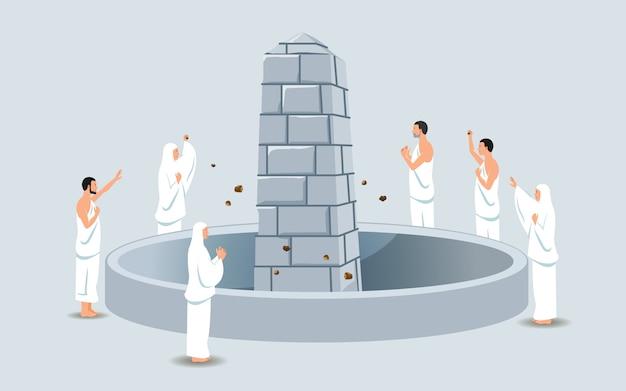 Grupa pielgrzymów hadżów kamieniowany filar diabła Premium Wektorów