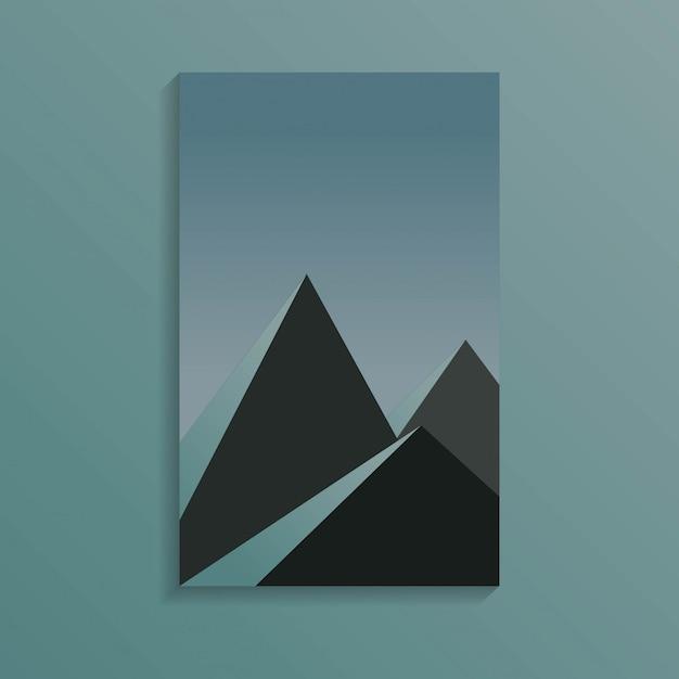 Grupa piramid w ciemności w ciemnoniebieskim kolorze Premium Wektorów