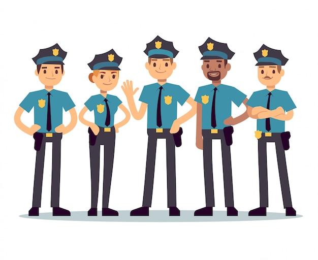 Grupa Policjantów. Kobieta I Mężczyzna Policjantów Znaków Wektorowych Premium Wektorów