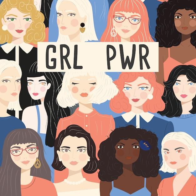 Grupa portretów różnych kobiet Premium Wektorów