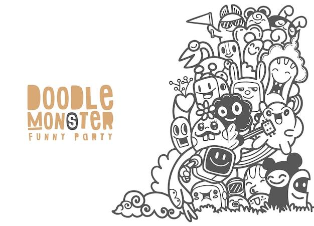 Grupa potworów dla twojego projektu. szablon do broszury reklamowej. śmieszne doodle Premium Wektorów