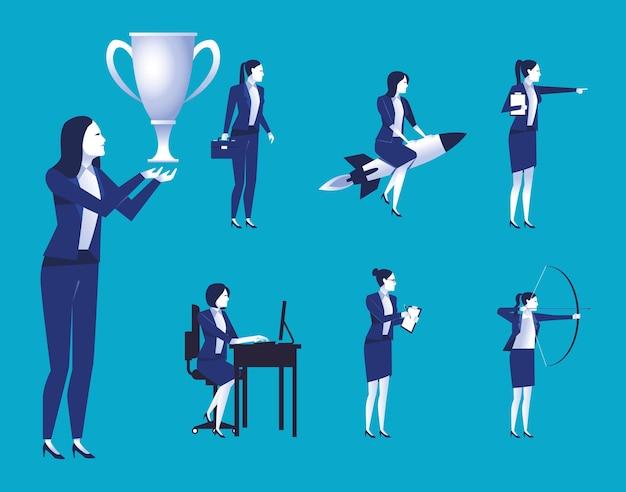 Grupa Pracowników Eleganckich Przedsiębiorców Avatary Znaków Ilustracji Premium Wektorów