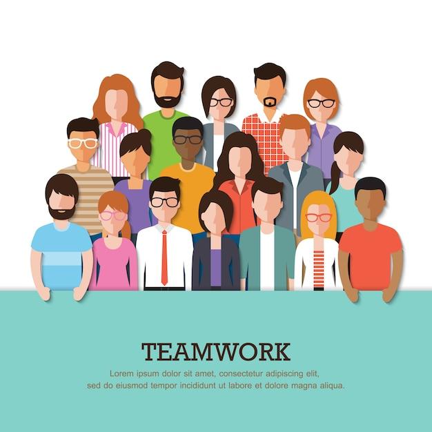 Grupa pracujący ludzie z sztandarem Premium Wektorów