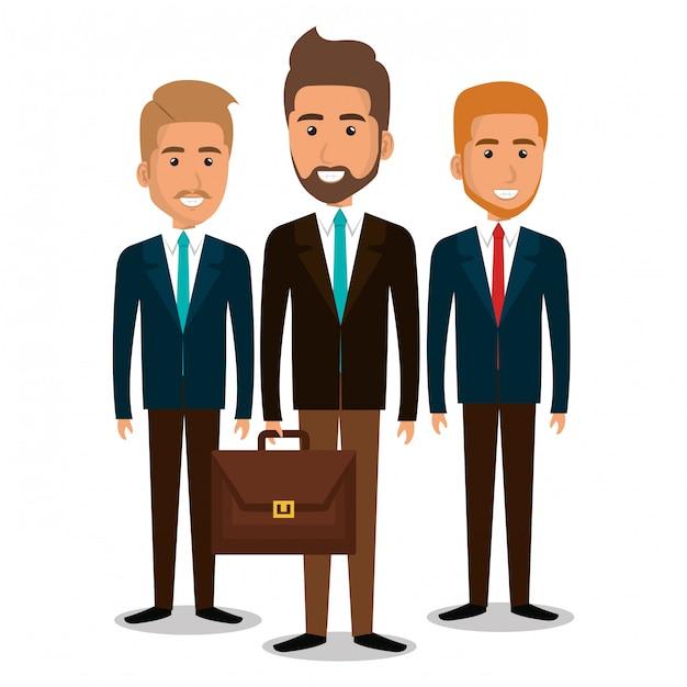 Grupa pracy zespołowej biznesmenów z ilustracji portfela Darmowych Wektorów
