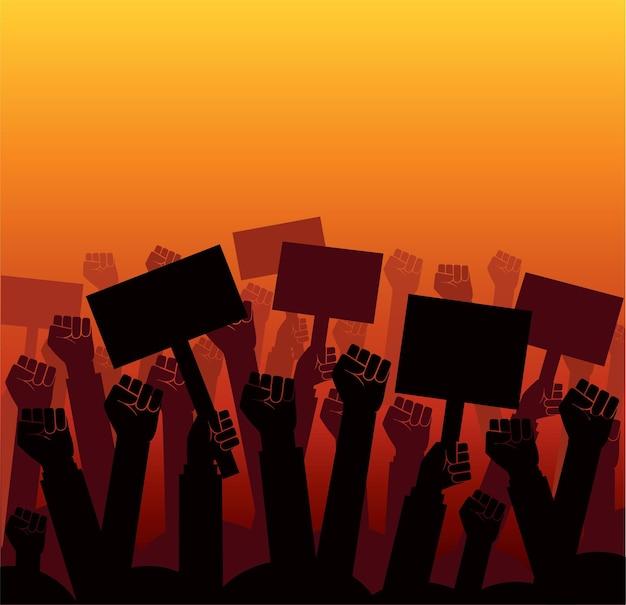 Grupa Protestujących Pięści Wzniosła Się W Powietrze Premium Wektorów