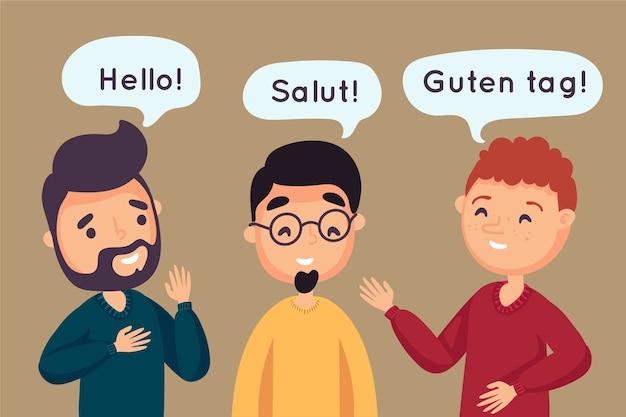 Grupa przyjaciół rozmawiających w różnych językach Darmowych Wektorów