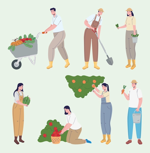 Grupa Rolników Kultywujących Postacie Awatarów Premium Wektorów