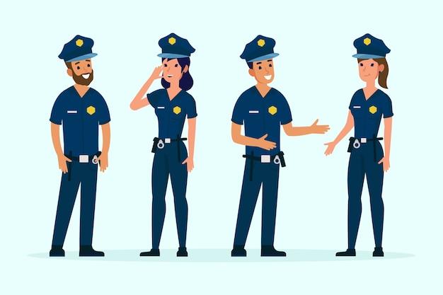 Grupa Różnych Osób Policji Darmowych Wektorów