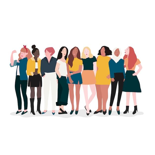 Grupa Silnych Kobiet Wektor Darmowych Wektorów