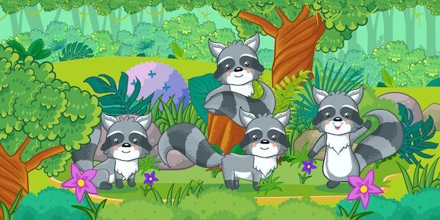 Grupa śliczni szop pracz cieszy się w lesie Premium Wektorów