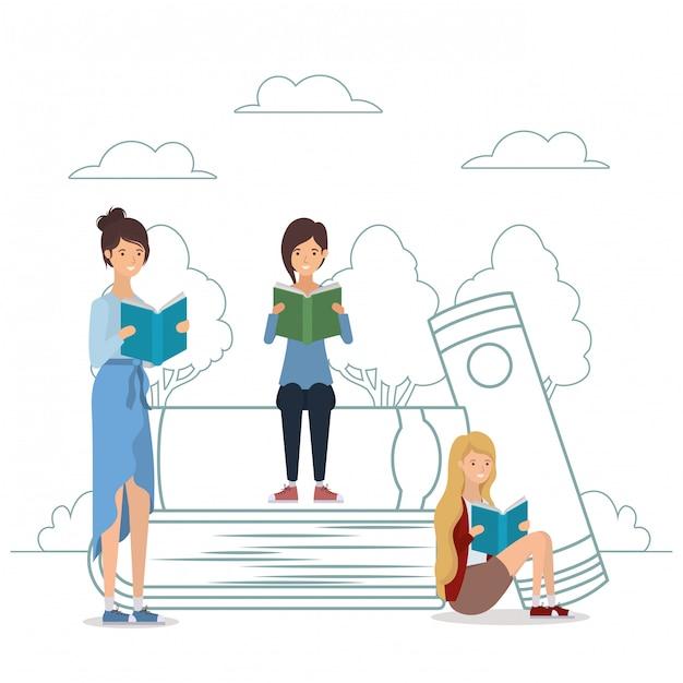 Grupa studentów, czytanie książek w parku Premium Wektorów