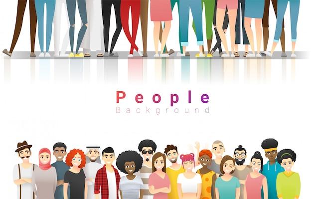 Grupa Szczęśliwi Wielo- Etniczni Ludzie Stoi Wpólnie Premium Wektorów