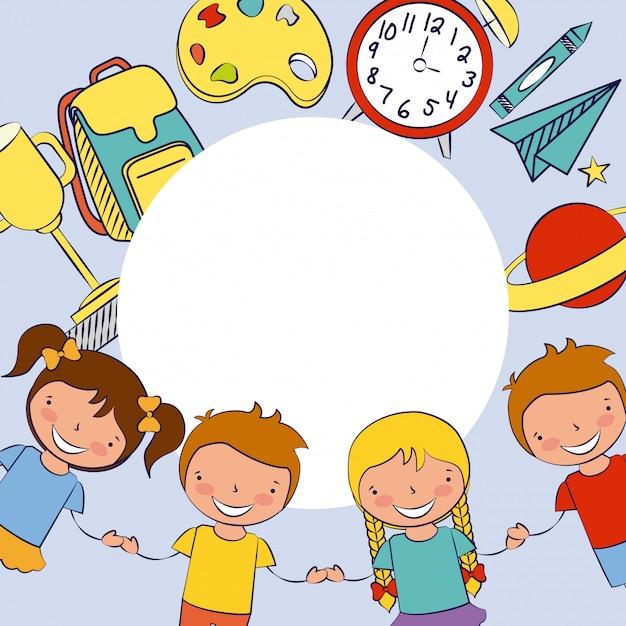 Grupa szczęśliwych dzieci, z powrotem do szkoły, edytowalne ilustracji Darmowych Wektorów