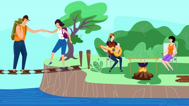 Grupa szczęśliwych przyjaciół zabawy w obozie, lato Premium Wektorów