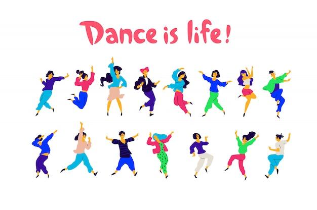 Grupa Tańczących Ludzi W Różnych Pozach I Emocjach. Premium Wektorów