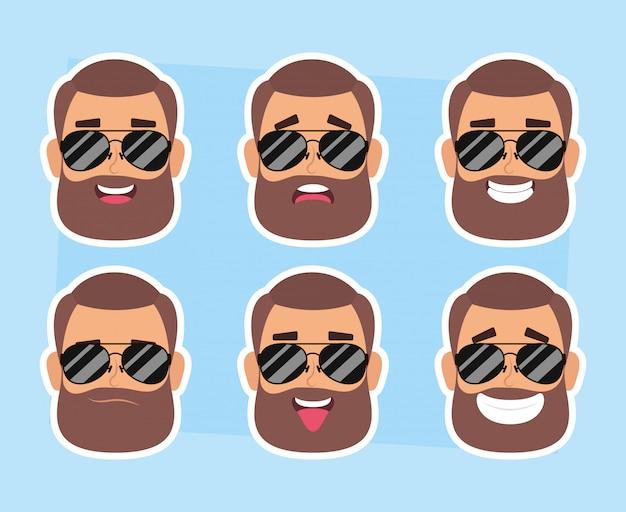 Grupa Twarzy Człowieka Z Brodą I Okulary Przeciwsłoneczne