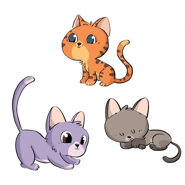 Grupa uroczych kotów Premium Wektorów