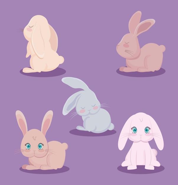 Grupa uroczych królików zwierząt Premium Wektorów