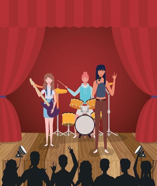Grupowy Zespół Muzyczny Grający Na Instrumentach Premium Wektorów