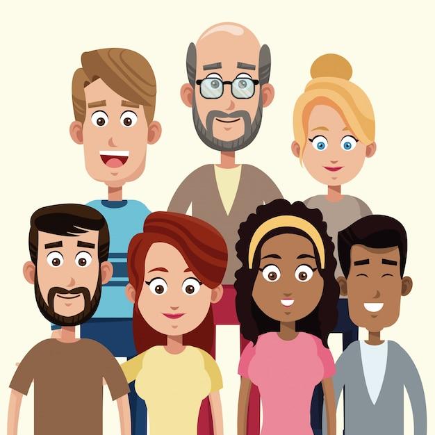 Grupuj ludzi członków rodziny Premium Wektorów