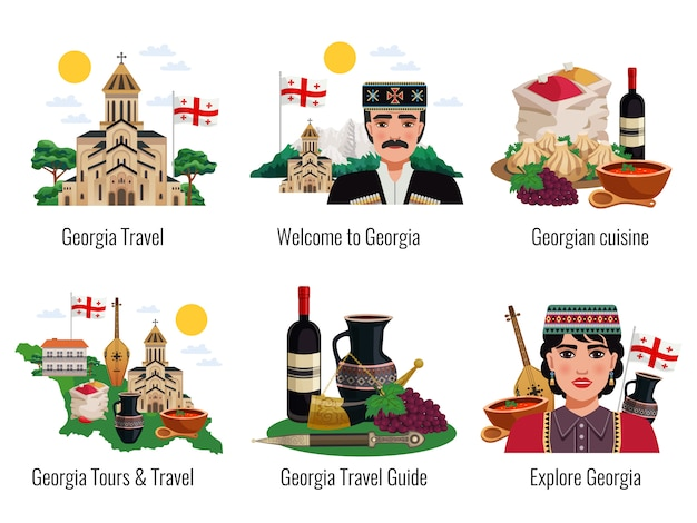Gruzińska Kultura Symbole Kuchnia Tradycje Zabytki Zwiedzanie Turyści Przewodnik Turystyczny 6 Płaskich Kompozycji Ustawionych Na Białym Tle Darmowych Wektorów