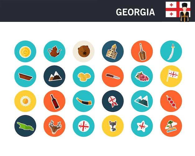 Gruzja Koncepcja Płaskie Ikony Premium Wektorów
