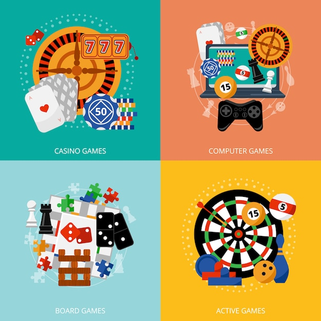 Gry hazardowe 4 płaskie ikony kwadratowych Darmowych Wektorów