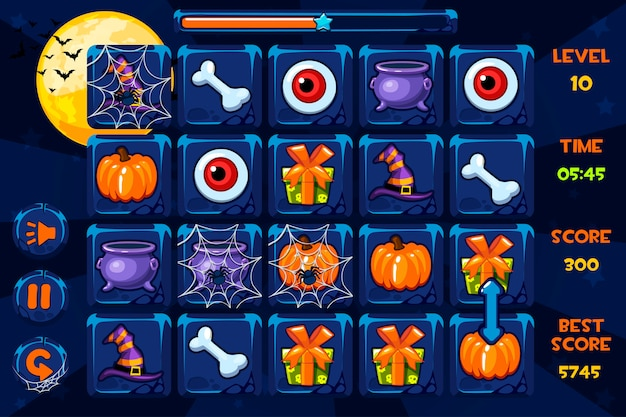 Gry Interfejsowe, Ikony I Przyciski W Stylu Halloween Premium Wektorów