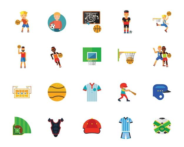 Gry w piłkę i zestaw ikon konkurencji Darmowych Wektorów