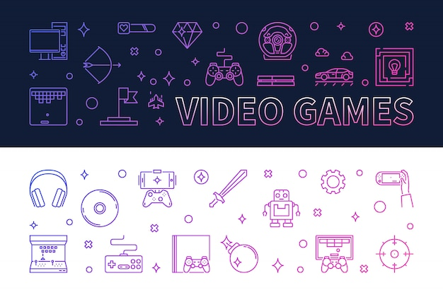 Gry Wideo Zarys Kolorowe Banery - Ilustracji Wektorowych Premium Wektorów