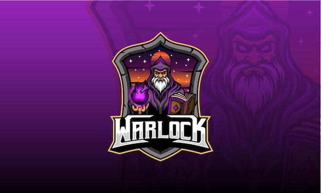 Gry Z Logo Warlocka Premium Wektorów