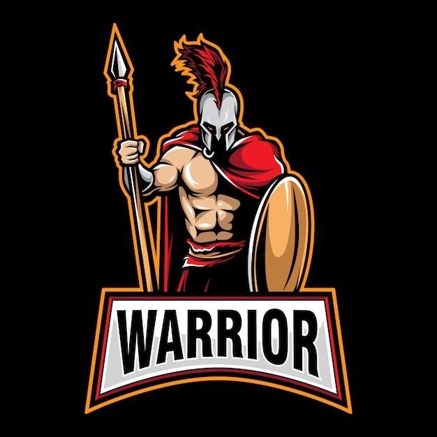 Gry Z Logo Wojownika Premium Wektorów