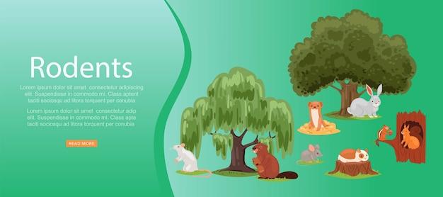 Gryzonie Napis Na Jasny, Zestaw Słodkie Zwierzę, Ssak, Małe śmieszne Zwierzaki, Ilustracja. Las, Gryzonie Stepowe I Wodne W Przyrodzie, Siedlisko Naturalne, Zielone Drzewa. Premium Wektorów