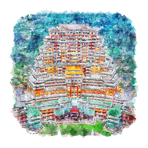 Guizhou Chiny Akwarela Szkic Ręcznie Rysowane Ilustracji Premium Wektorów