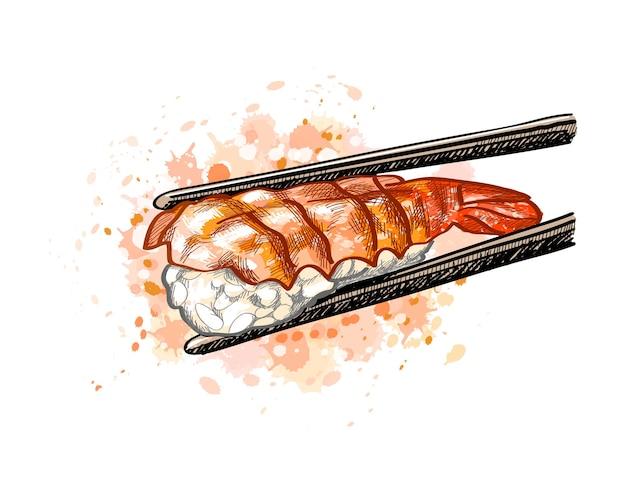 Gunkan Sushi Z Krewetkami Z Odrobiną Akwareli, Ręcznie Rysowane Szkic. Ilustracja Farb Premium Wektorów